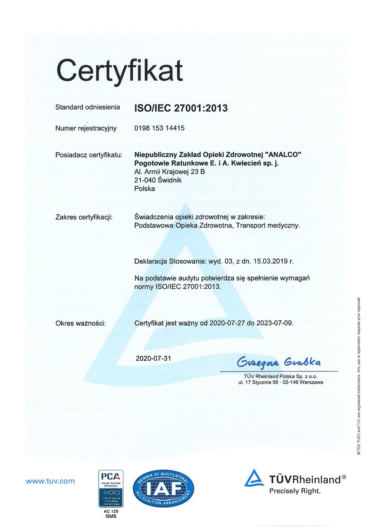 NZOZ Analco uzyskało certyfikaty TUV Rheinland